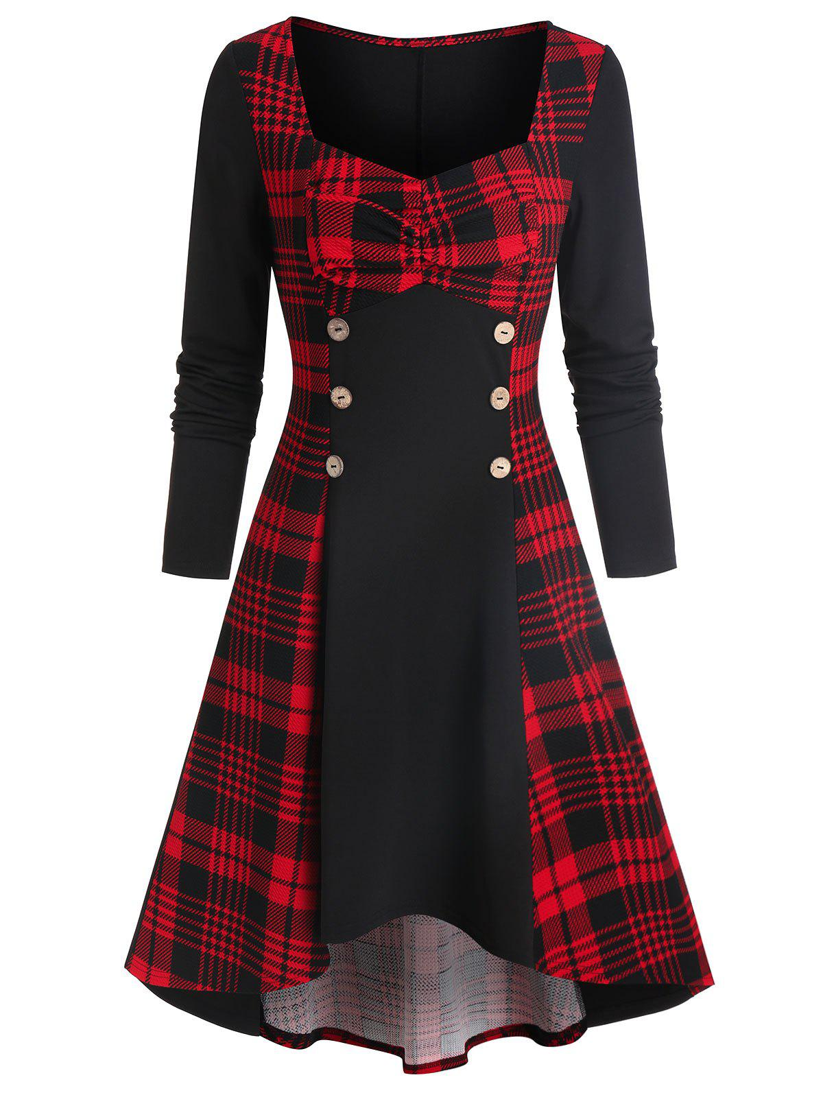 Best Plaid Print Mock Button Lace-up High Low Dress