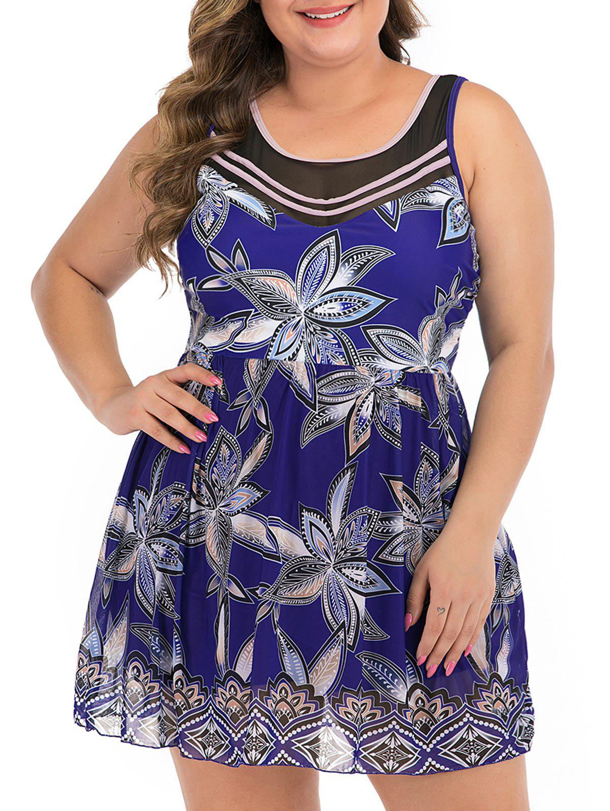 Chic Tie Back Floral Mesh Panel Plus Size Skirted Swimsuit