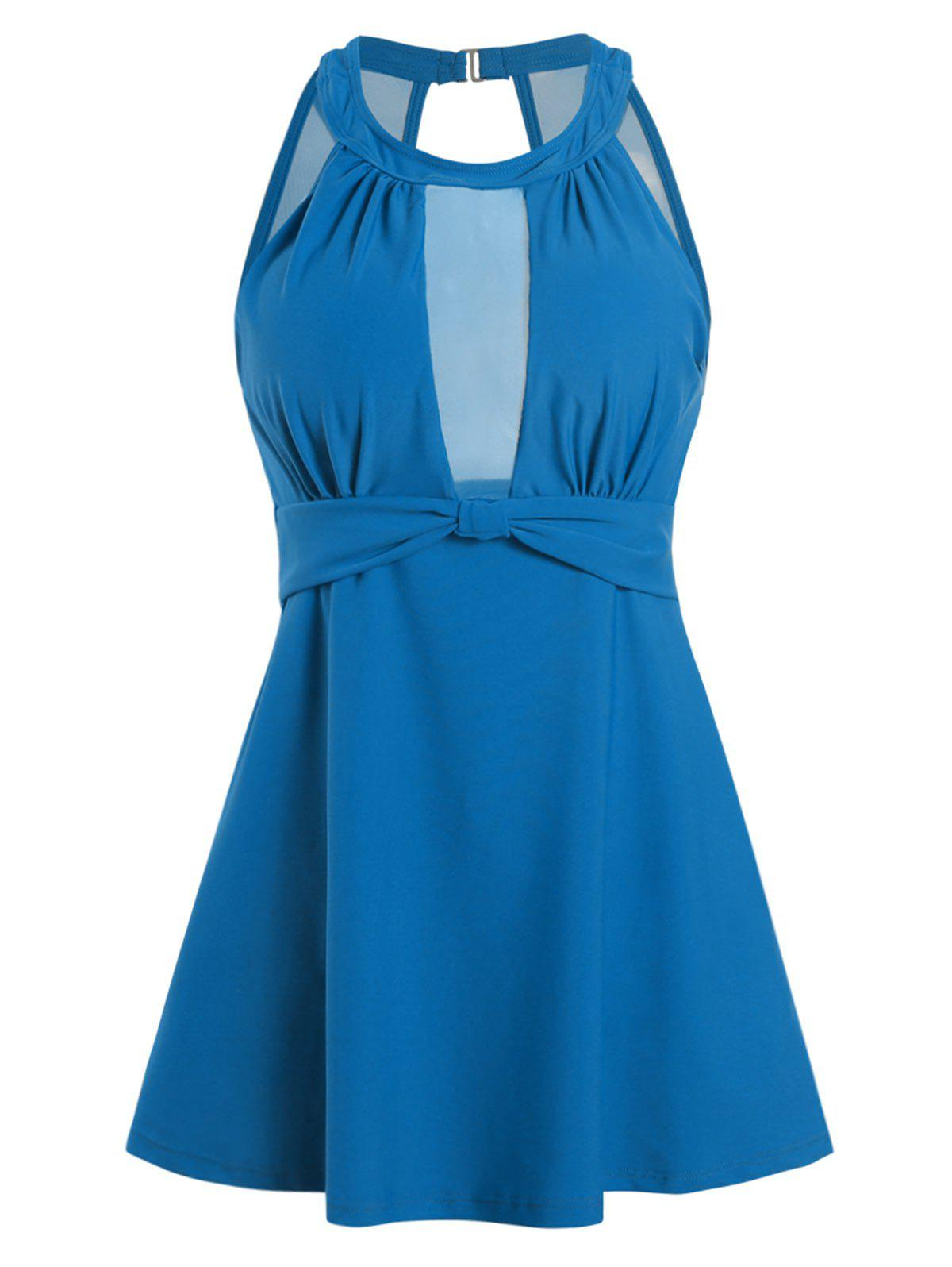 New Ruched Front Solid Mesh Panel Plus Size Tankini Swimwear