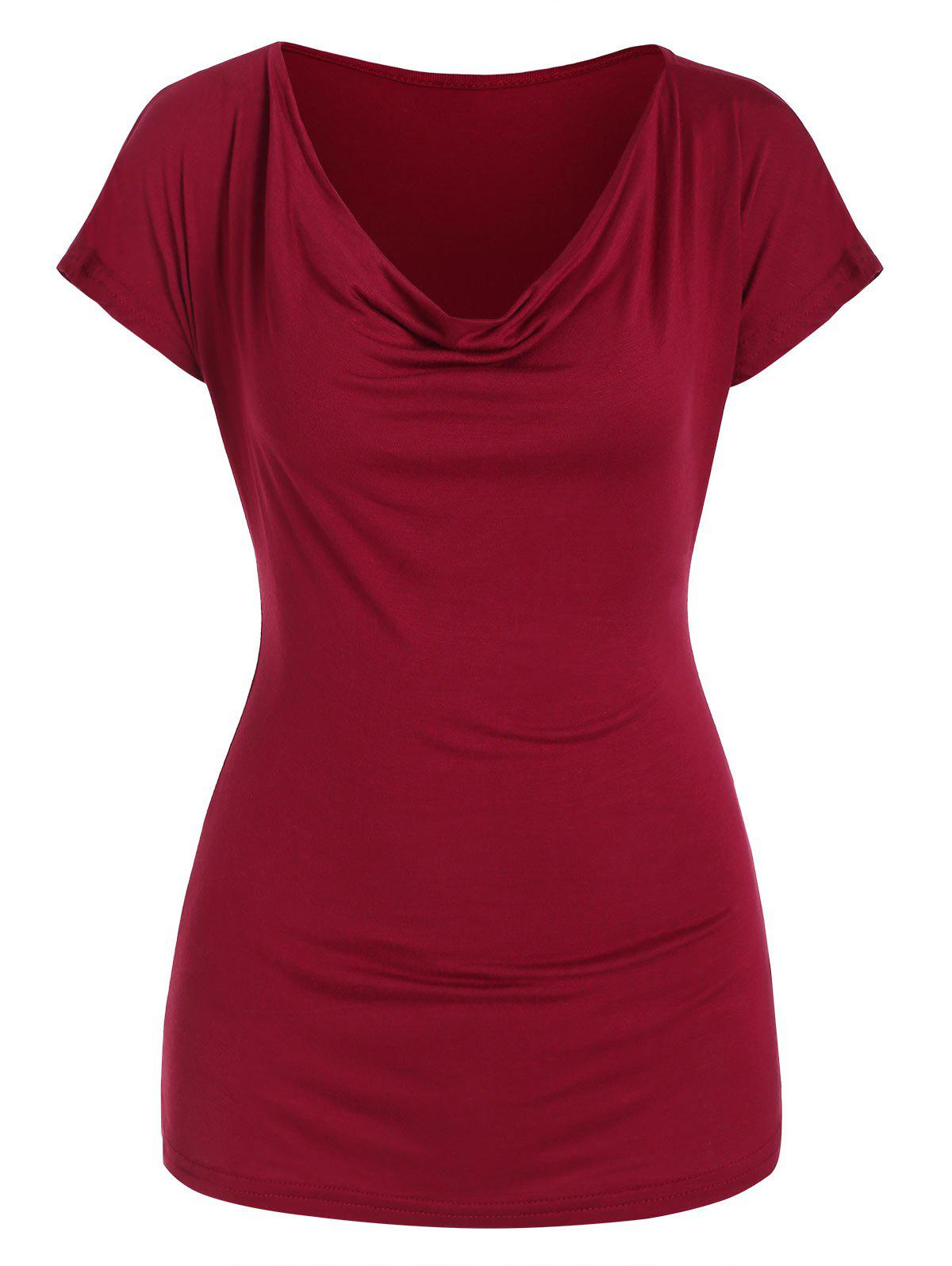 Cowl Front Short Sleeves Solid Tee, Red wine