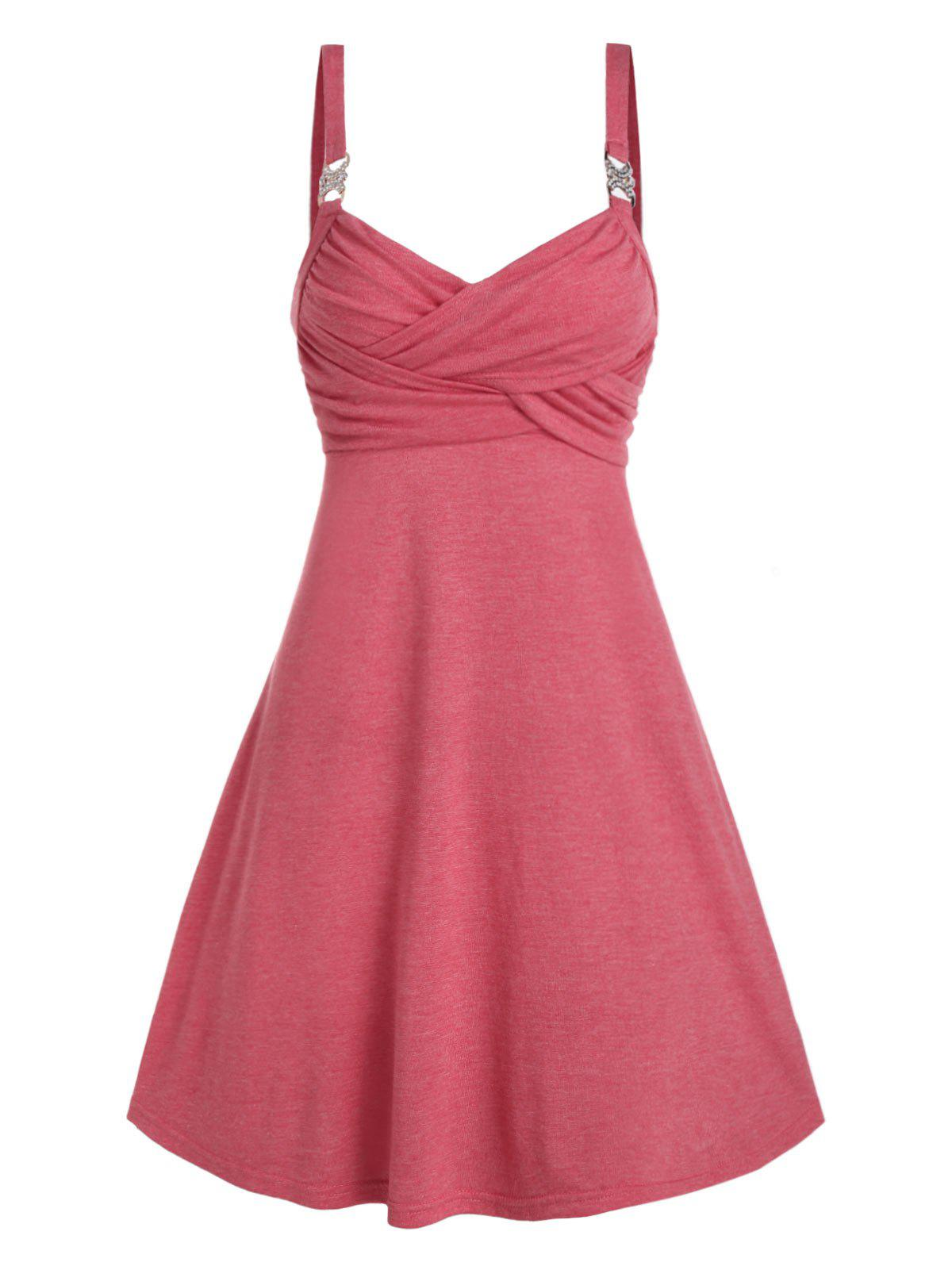 Shops Rhinestone Buckle Sleeveless Heathered Crossover Dress