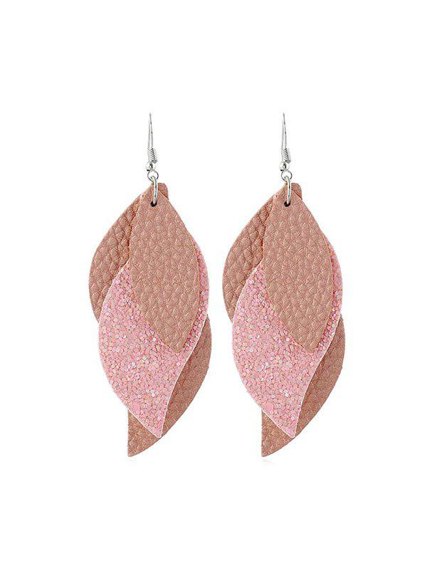Outfit Layers Glitter Leather Leaf Shape Earrings