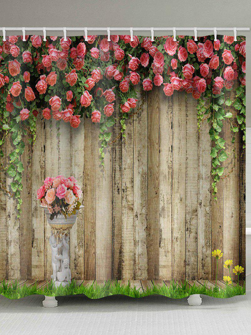 Купить со скидкой Flowers Wooden Board Print Waterproof Bathroom Shower Curtain