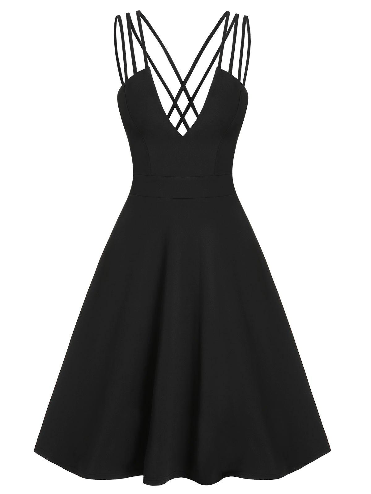 Online Fit And Flare Low Cut Criss Cross Straps Dress