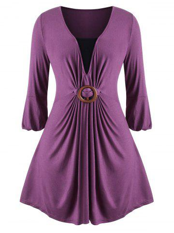 Contrast O Ring Skirted Longline Plus Size Top - PURPLE - L