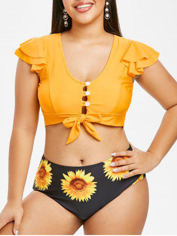 Tie Front Button Loop Sunflower Plus Size Two Piece Swimwear - RUBBER DUCKY YELLOW - 4X