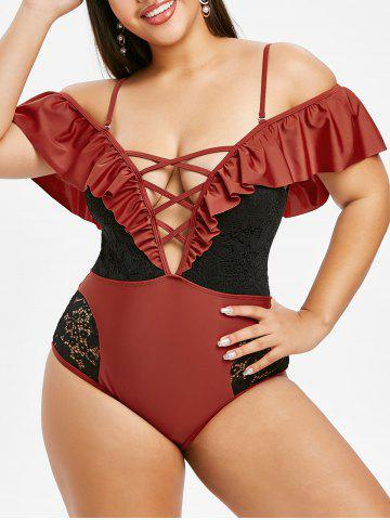 Plus Size Plunge Lace Insert Crisscross One-piece Swimsuit - RED WINE - L