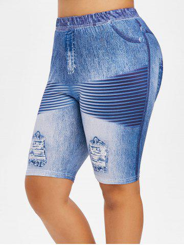 Plus Size Ripped Jean Print Design Fitted Leggings - BLUE IVY - 4X