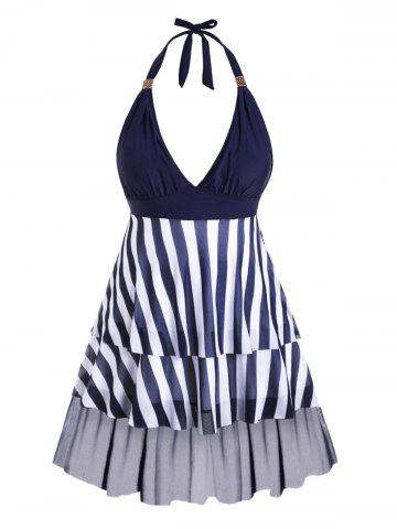 Plus Size Striped Halter Mesh Insert Tiered Tankini Swimwear - CADETBLUE - L