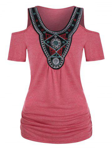 Tribal Embroidered Ruched Cold Shoulder T-shirt - VALENTINE RED - XL
