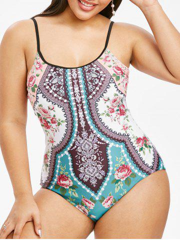 Bohemian Floral Printed Plus Size One-piece Swimsuit