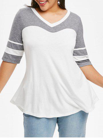 Curved Hem Stripes Panel Colorblock Plus Size Top - WHITE - 1X
