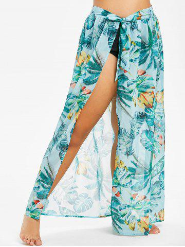 Plus Size Tropical Print Convertible Wrap Cover Up