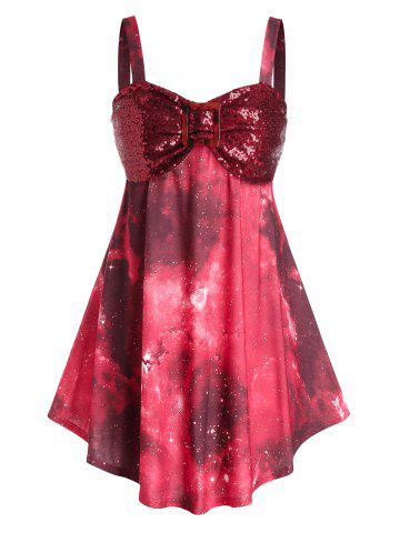 Plus Size Sequin Bust High Waist Tank Top - RED WINE - 5X