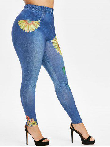 Plus Size Sunflower 3D Print High Waisted Jeggings - OCEAN BLUE - 3X