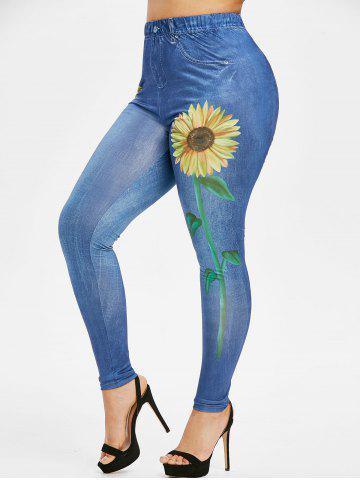 Plus Size Sunflower 3D Print High Waisted Jeggings