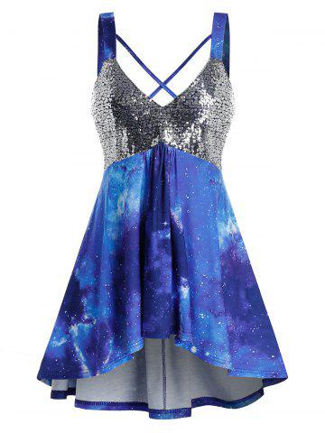Plus Size Sparkly Sequined Galaxy Crisscross Tunic Tank Top
