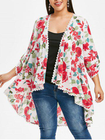 Plus Size Asymmetric Open Front Floral Blouse with Lace - WHITE - 5X