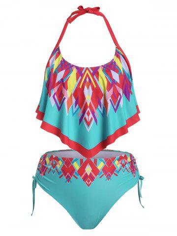 Plus Size Ruffled Geometry Cinched Tankini Swimwear - TURQUOISE - 5X