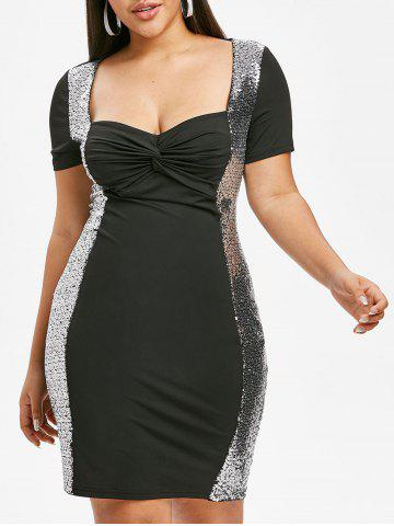 Plus Size Twist Sequin Party Bodycon Dress - BLACK - 1X