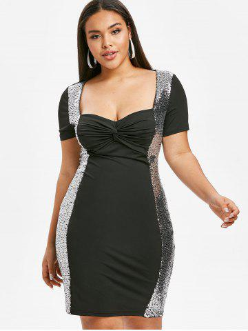 Plus Size Twist Sequin Party Bodycon Dress