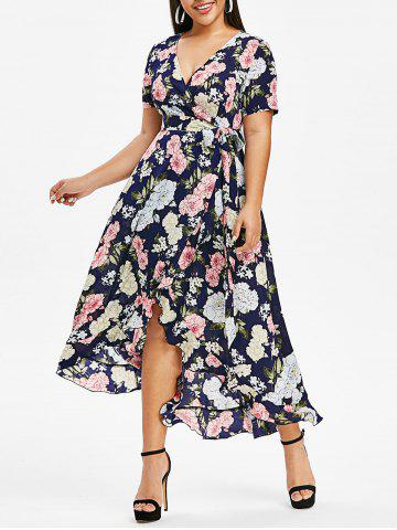 Plus Size Kimono Floral Printed High Low Dress - BLACK - 4X