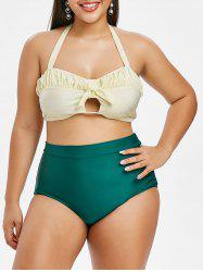 Plus Size Bowknot Ruched Halter Tankini Swimsuit -