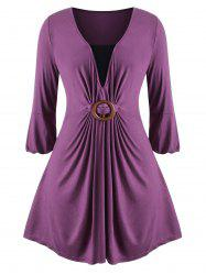 Contrast O Ring Skirted Longline Plus Size Top -