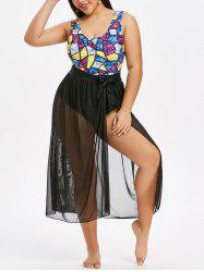 Plus Size Sparkly Print One-piece Swimsuit And Sheer Mesh Sarong Set -