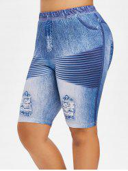 Plus Size Ripped Jean Print Design Fitted Leggings -