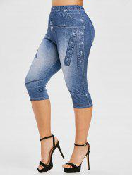 Plus Size 3D Jean Print Cropped High Waisted Jeggings -