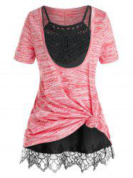 Plus Size Front Knot Marled Tee and Cami Top Set -