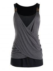 Plus Size Draped Crossover Tank Top -
