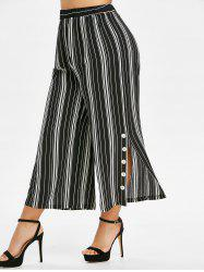Plus Size Striped Slit Buttoned Palazzo Wide Leg Pants -