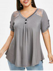 Mock Buttons Tab Sleeve Lace Panel Plus Size Blouse -
