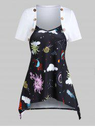 Sun Moon Star Print Hanky Hem Mock Button T-shirt -