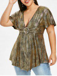 Ruched Gilded O Ring Plus Size Blouse -