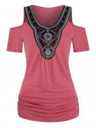 Tribal Embroidered Ruched Cold Shoulder T-shirt -