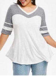 Curved Hem Stripes Panel Colorblock Plus Size Top -