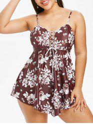 Plus Size Floral Tankini Swimsuit with Lace Up -