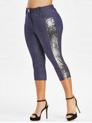 Plus Size Glitter Sequined High Waisted Capri Pants -