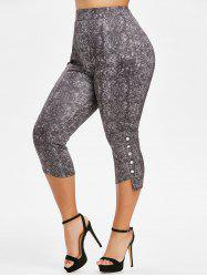 Plus Size Space Dye High Rise Buttoned Leggings -