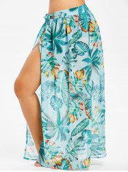 Plus Size Tropical Print Convertible Wrap Cover Up -