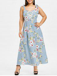 Plus Size Flower Tie Shoulder Lace Up Maxi Dress -