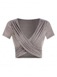 Ruched Crossover Heathered Cropped T-shirt -