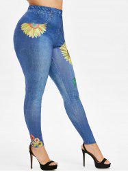Plus Size Sunflower 3D Print High Waisted Jeggings -
