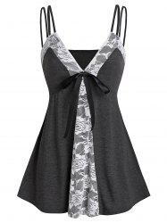 Lace Insert Bowknot Heathered Cami Top -