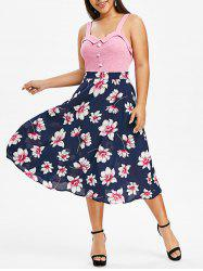 Plus Size Flower Print Faux Pearl Embellished Backless Dress -