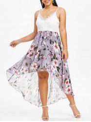 Plus Size Flower Print Lace Insert Ruffle High Low Dress -