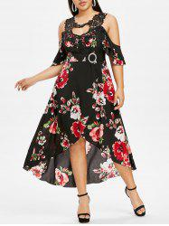 Plus Size Lace Insert Cutout High Low Floral Dress -